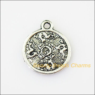 8 New Round Flower Tibetan Silver Tone Charms Pendants 15.5x18.5mm