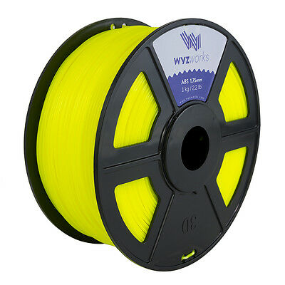 WYZwork 3D Printer Premium ABS Filament 1.75mm 1kg/2.2lb - Translucent Yellow