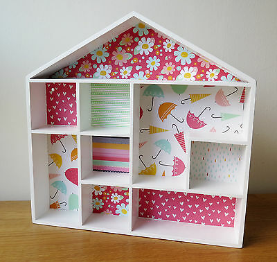 Beautiful wooden house shelf unit - perfect for little treasures!