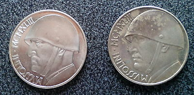 Italy - Italia Couple Of Two Mussolini 20 Lire - One With Rotated Axis