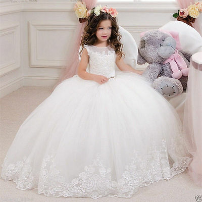2017 Communion Party Prom Princess Pageant Bridesmaid Wedding Flower Girl Dress