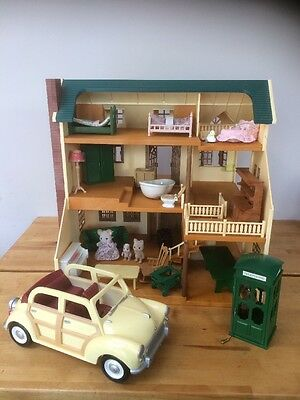 Large Sylvanian House  Figures Furniture And Car
