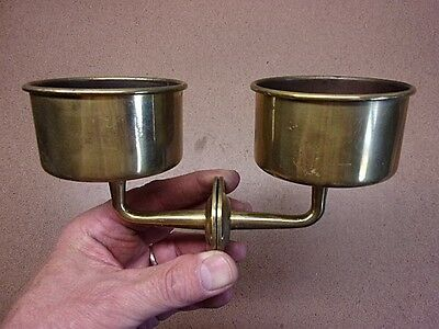 "VINTAGE PAIR of BRASS Wall Mounted CUP HOLDERS 3"" Diameter Nautical Decor NICE!"