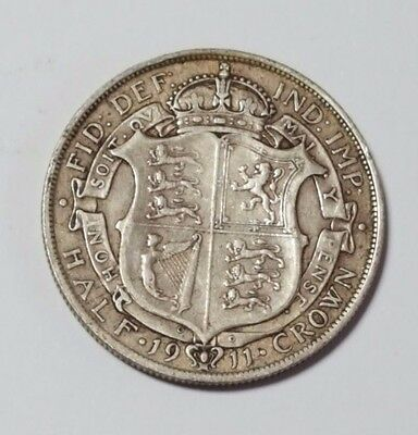 1911 - Silver Coin - Half Crown - Great Britain - King George V - English UK