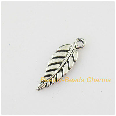 25 New Tiny Leaf Tibetan Silver Tone Charms Pendants 6.5x19mm