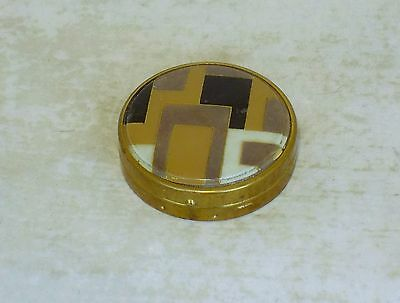 Rare French Art Deco  Geometric Painted Celluloid Face Powder Compact
