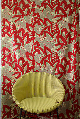 vintage 1990s abstract Deco leaf & berry linen interiors fabric