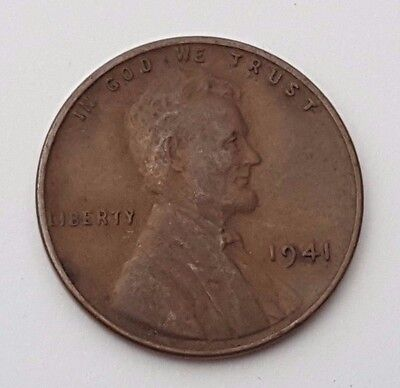 Dated : 1941 - Lincoln - Wheat - One Cent Coin - United States of America
