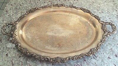 """Rare Large 30"""" Footed/Handled POOLE LANCASTER ROSE SILVERPLATE TRAY - John ADAMS"""