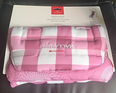 Maclaren Baby Buggy Reversible Seat Liner Gingham Orchid Smoke New