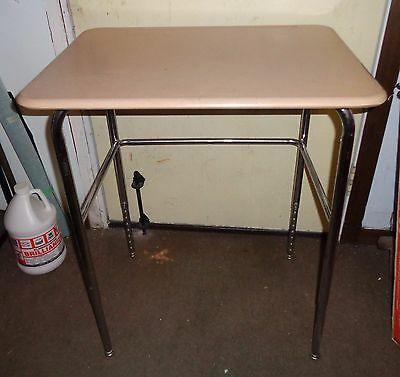 Vintage Tan Industrial Mid Century Student School Steel Desk End Table 60s 70s