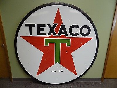 """Clean 72"""" Texaco Double Sided 1947 Porcelain Sign Gas Station Metal Vtg Rare!"""
