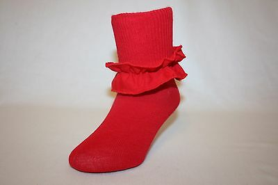 Infant and Girls Red Cotton-Nylon-Spandex Bobby Socks with Ruffle