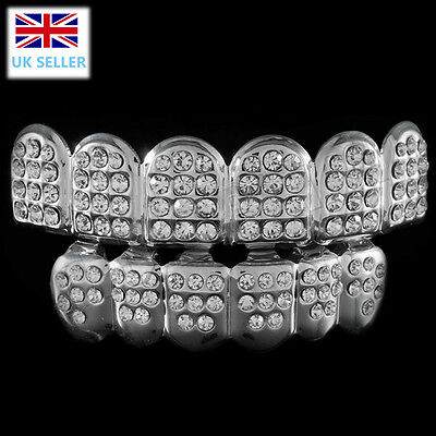 Silver Grillz Diamante Plated Teeth Mouth Grills Top Bottom Bling Hip Hop Rap