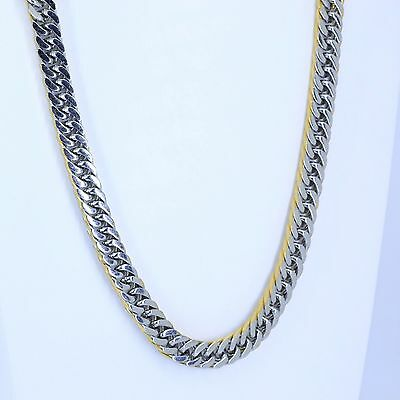 9mm High Quality Silver&Gold 316L Stainless Steel Curb Cuban Chain Necklace 22""