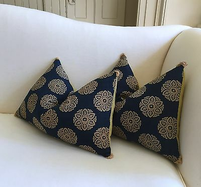 Pair of pillows/cushions made from ANTIQUE C1805 FRENCH EMPIRE block print cloth