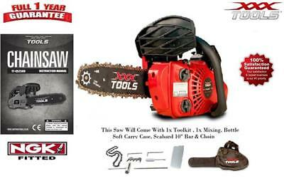 "XXX TOOLS Petrol 26cc 10"" Top Handle Chainsaw Light Weight Small Powerful NGKr"