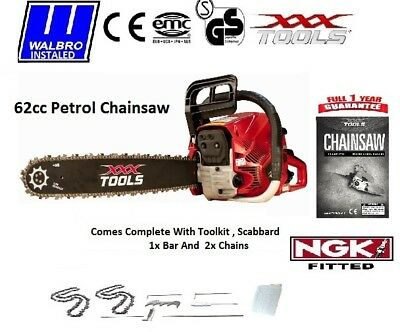 "NEW 2017 XXX 62cc Petrol Chainsaw 24"" Bar 2 x Chains / Easy Start  Walbro Carb"