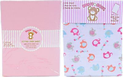 Honey Baby Pink Elephant Toddler Bed or Crib Sheets 2-Pack (100% Cotton)