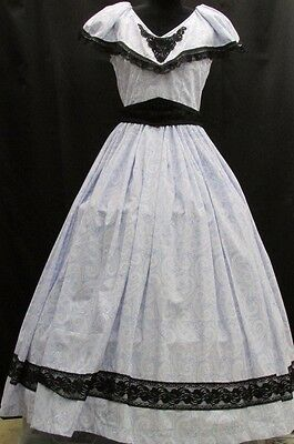 Civil War/ Victorian Day Gown Paisley Print on Light Blue Background, Black Lace