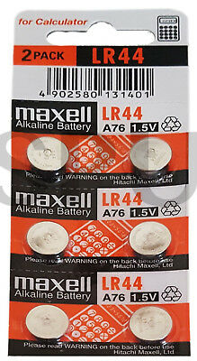 6 x Maxell LR44 A76 AG13 1.5V Alkaline Cell Button Batteries