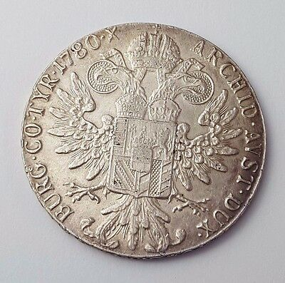 Dated : 1780 - Solid Silver - Maria Theresia - One Thaler Coin - Restrike