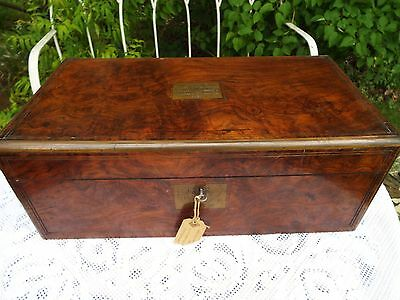 Large Victorian Rosewood Writing Slope 3 Secret Drawers Lock and Key 1887