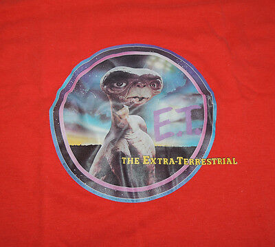 Scarce 1982 E.T. Red Short Sleeve T-SHIRT Vintage ET Extra Terrestrial Tee
