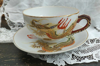 Lithophane Moriage Gold Dragon Tea Cup & Saucer Geisha in Base Japan Porcelain