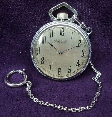 Serviced w/Chain~49MM ~J. LEWKOWITZ New York Private Label Swiss Pocket Watch
