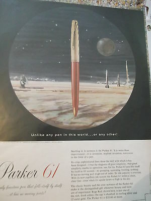 Newsweek 1950s color AD  Parker 61 Unlike any pen in  this world ...or any other
