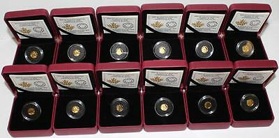 12 x 2016 Canada Arctic Fox 25 Cent 9999 Pure Gold Coins 6 Grams Total wBox COA