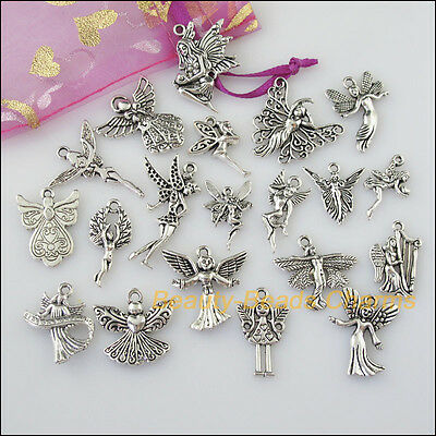 20 New Mixed Lots of Tibetan Silver Tone Lovely Angel Charms Pendants