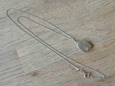 """925 Sterling Silver Hallmarked Opening Locket Pendant and Necklace Chain 18.5"""""""