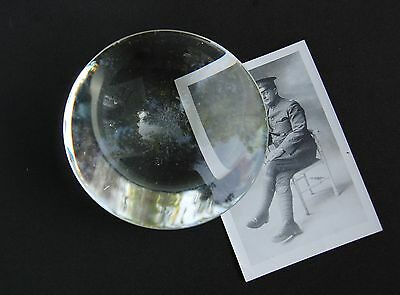 "Glass Paper Weight Magnifier Lens 4 1/2"" Dome Semi-Sphere Antique Optometry"