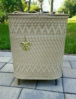 Princess Sewing storage box basket fleur-de-lis spool holders footed mid-century