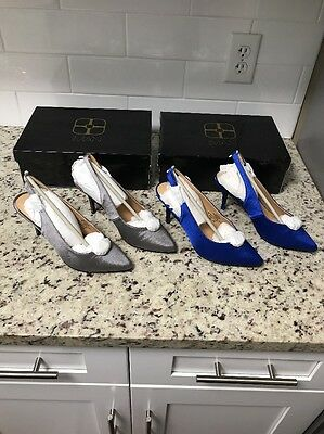 Lot of 2 ; Blue; Gray  IMAN Global Chic Pumps Sapphire  Size 7 w/matching clutch
