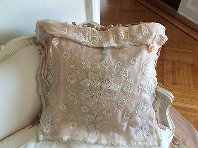 Antique Net Lace Doily Pillow Lingerie French Tambour Embroidery Victorian pink