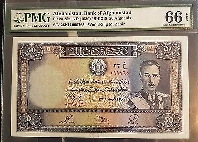 RARE GEM UNC EPQ PMG 66 Afghanistan Pick#25a 1939 Top 50 Afghanis King Zahir