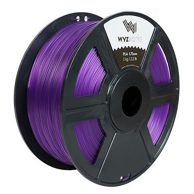 WYZwork 3D Printer Premium PLA Filament 1.75mm 1kg/2.2lb - Translucent Purple