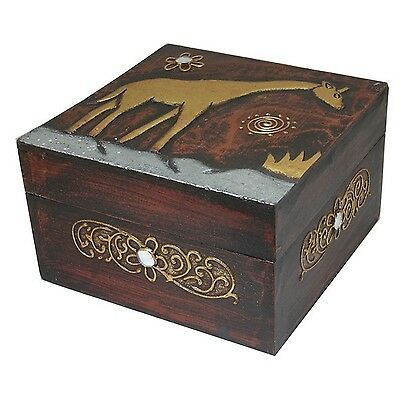 Hand-Carved Wood Giraffe Design Box Handmade in Indonesia