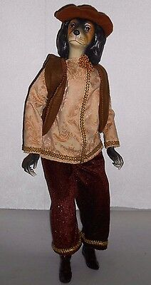 """Unique Spaniel Dog Dressed Up Victorian Style 23"""" Doll Boy Male Mint!"""