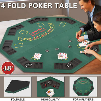 "48"" Green Octagon 8 Player Four Foldable Folding Poker Game Table Desk Top NEW"