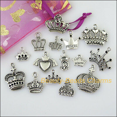 15 New Mixed Lots of Tibetan Silver Tone Crown Charms Pendants