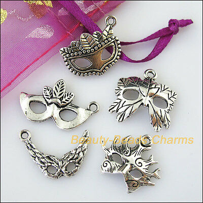 10 New Mixed Lots of Tibetan Silver Tone Mask Charms Pendants