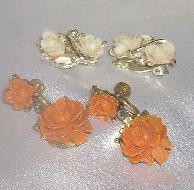 Vintage Faux Coral Carved Celluloid Rose Earrings Lot Of 2 Pretty
