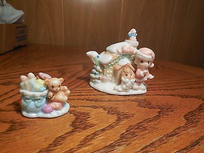 "Precious Moments ""boy Santa/ House Mini Tea Set by Enesco"