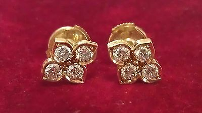 Authentic! Cartier 18K Yellow Gold Diamond Earrings