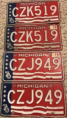 LOT OF 4 Vintage MICHIGAN LICENSE PLATES 76 RED WHITE & BLUE 2 Pairs 1976 Free S