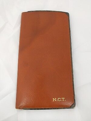 """Vintage Birk's Made in England Large (7""""x 4"""") Brown Leather Wallet"""